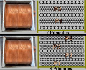 A Cheaply Made Output Tranny Used In Many Tube Guitar Amps Will Have  Primaries With A Single Secondary Between The Primaries P S P Or Have