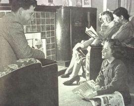 Family around radio